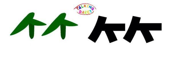 學中文象形字感偏旁字竹