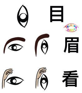 象形字感學中文組字練習單-目、眉、看