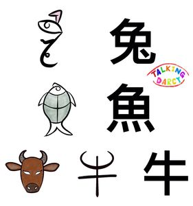 象形字感學中文組字練習單-兔、魚、牛