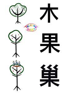象形字感學中文字組字練習單-木、果、巢